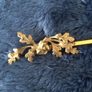 Oak and Acorn brass bobby pin